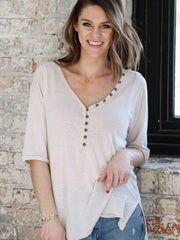 Free People Washed Three Quarter Sleeve Top