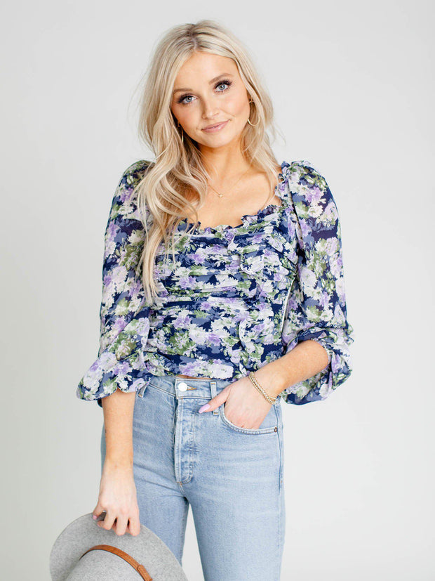 floral ruched top