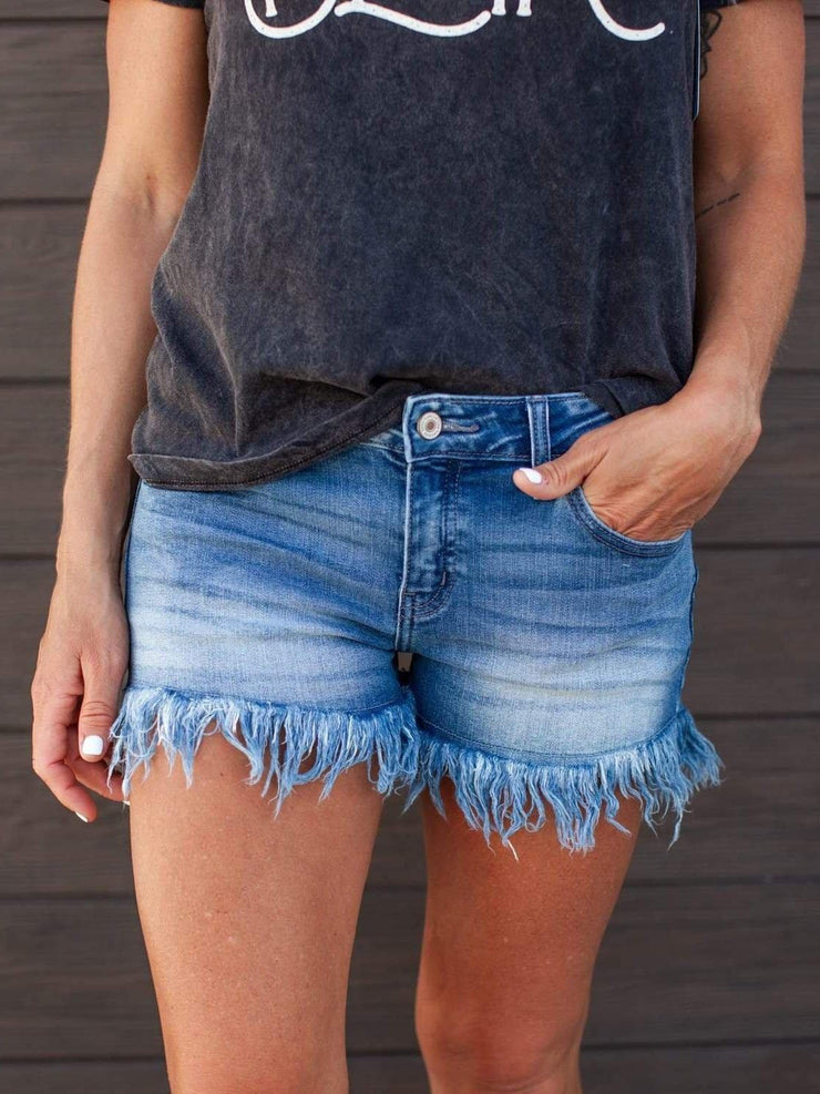 KanCan High Rise Fringe Hem Shorts