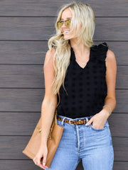 Polka Dot Textured Puff Sleeve Tank