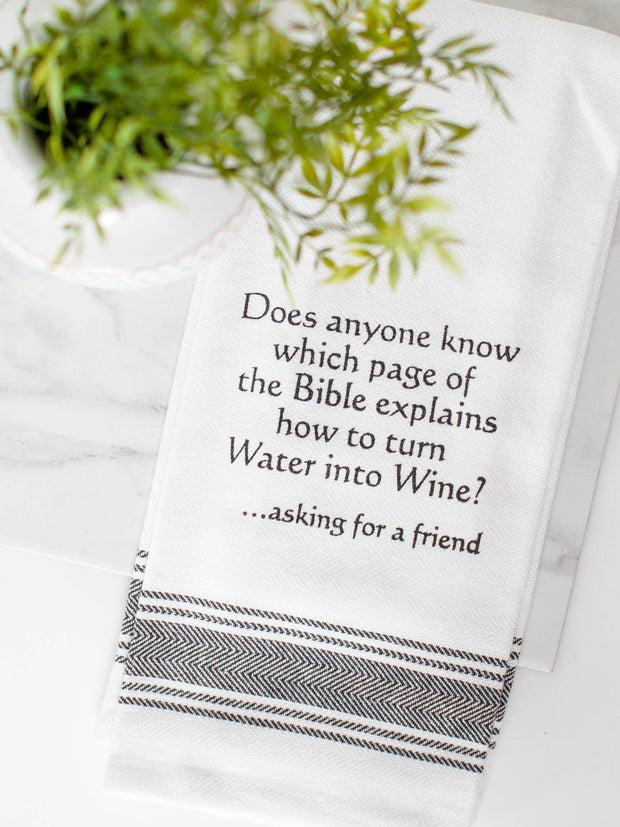water into wine dish towel