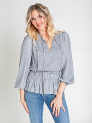 smocked chest peplum top
