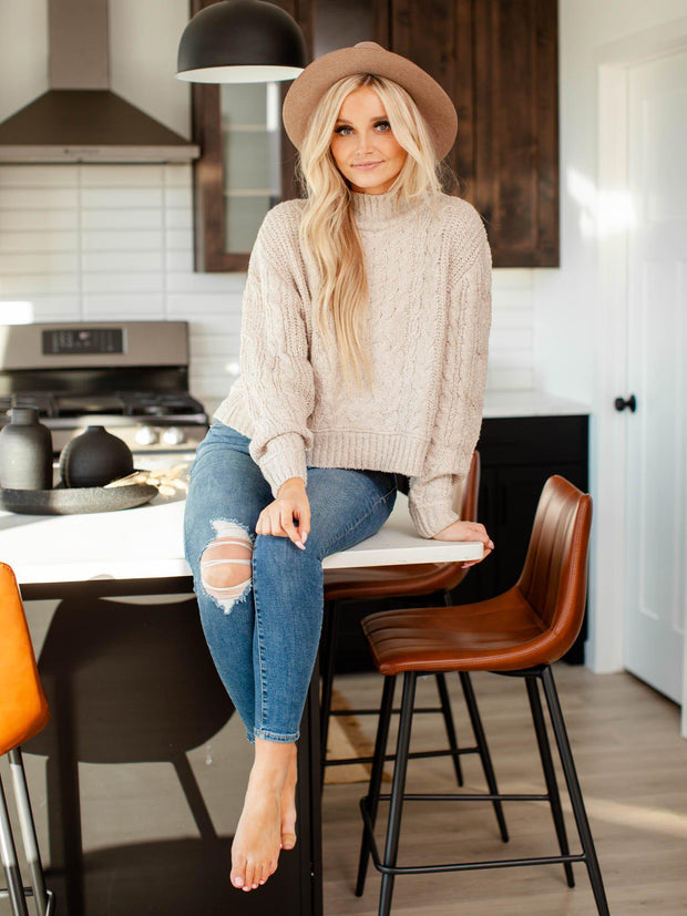 boxy cable knit sweater