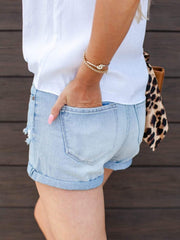 KanCan Roll Hem Distressed Shorts