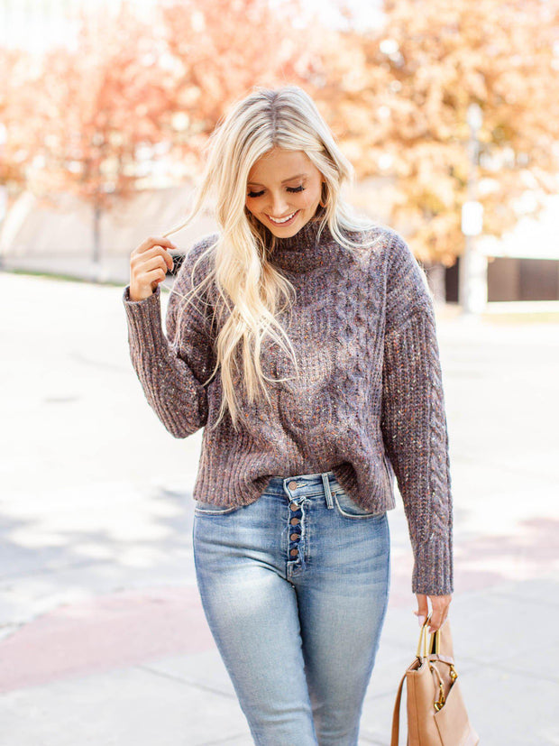 mock neck speckle sweater