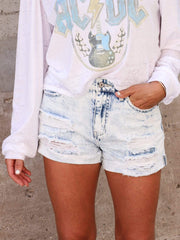Distressed Heavy Acid Wash Shorts