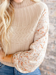 mixed texture high neck sweater