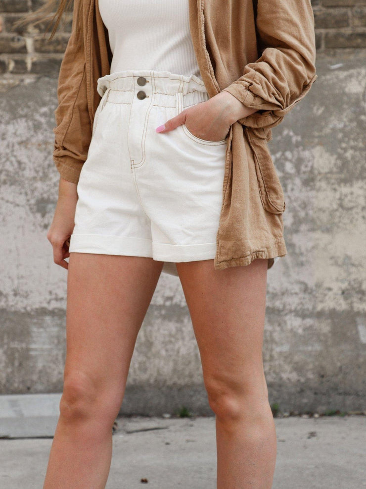 Double Button Elastic Paperbag Waist Shorts
