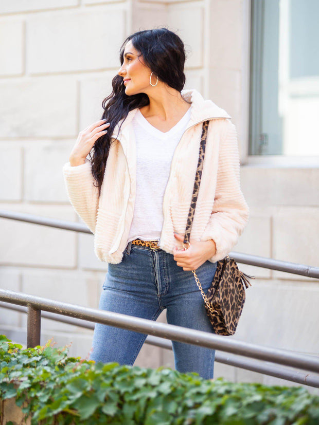 Faux Fur Zip Front Cropped Jacket