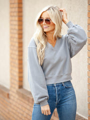AGOLDE V-Neck Cropped Sweatshirt