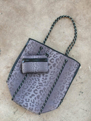 tonal black leopard bag