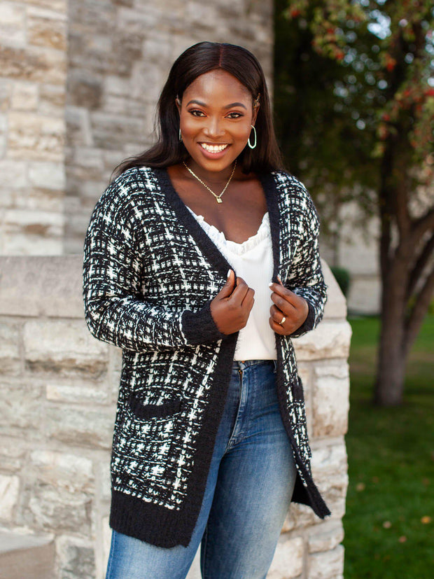 Contrast Speckled Knit Cardigan