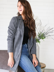 Plaid One Button Coat