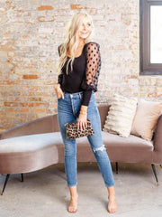 puff polka dot sleeve top