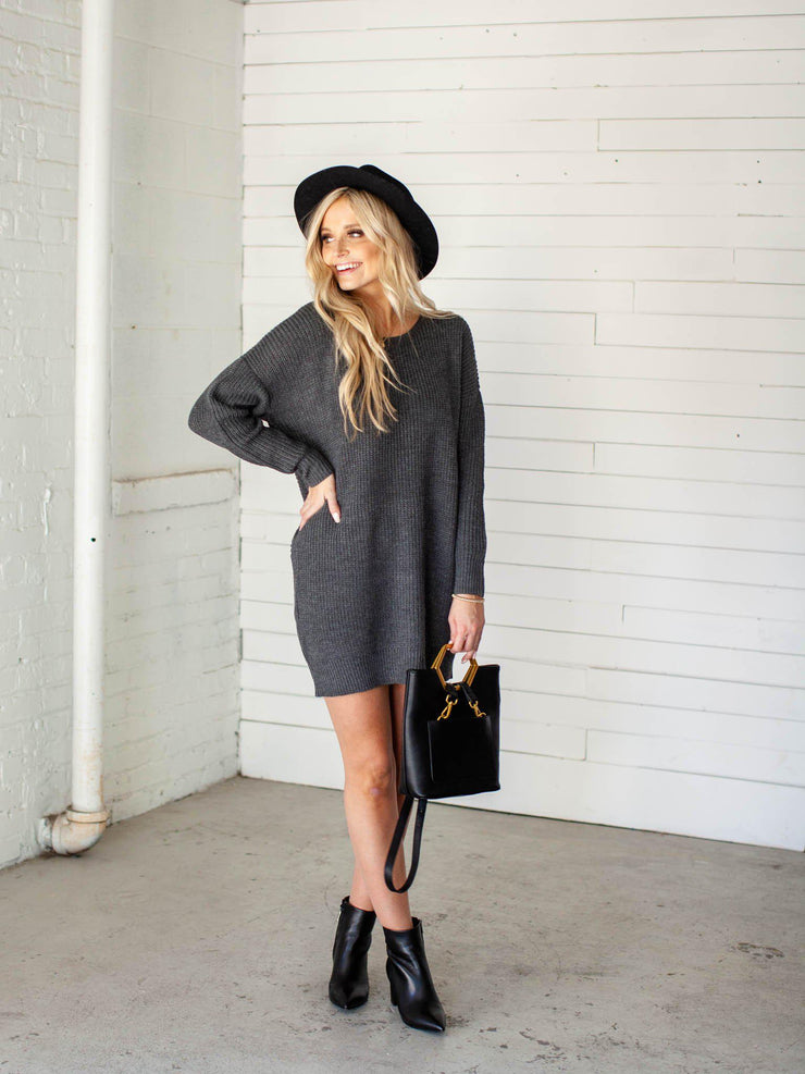 oversize ribbed sweater dress