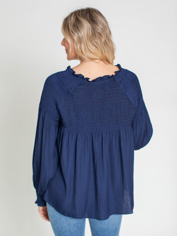 relaxed split neck top