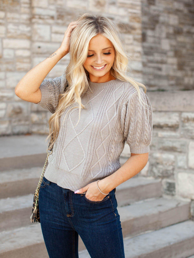 Short Cable Knit Puff Sleeve Top