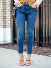 Free People Indigo Fray Hem Jegging
