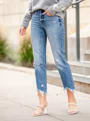 Frayed Ankle Hem Denim