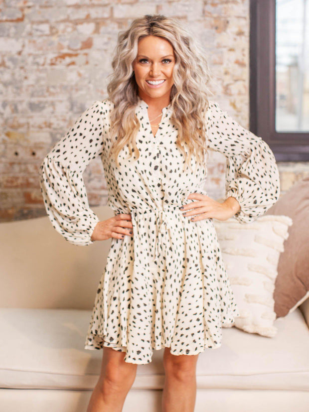 Long Sleeve Polka Dot Cinch Waist Dress