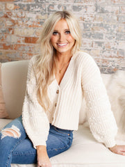 cropped drop shoulder cardigan