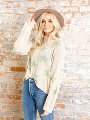 long sleeve star print sweater