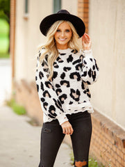 Printed Leopard Distressed Sweater
