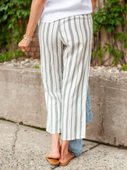 Stripe Cropped Tie Front Pants