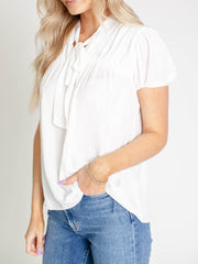 white puff sleeve gathered front top
