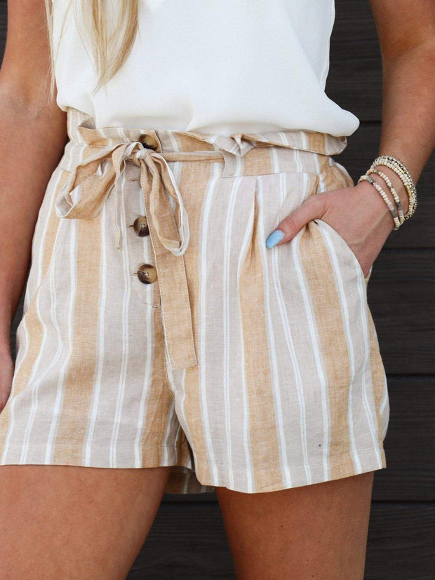 Gentle Fawn Button Front Linen Shorts