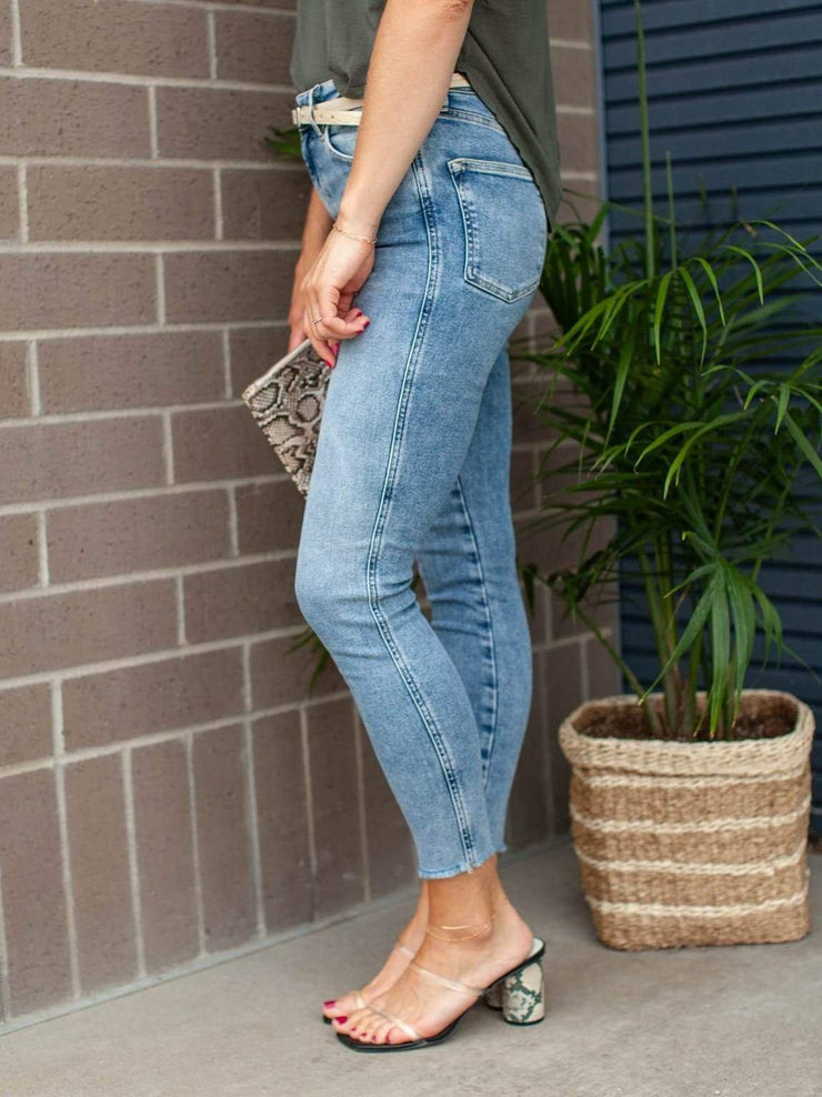 Free People High Rise Raw Hem Ankle Jegging
