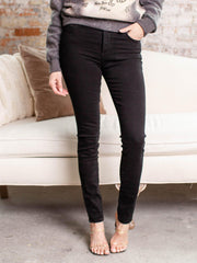 solid black denim
