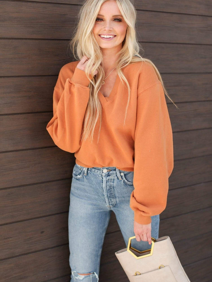 AGOLDE Orange V-NEck Puff Sleeve Sweater