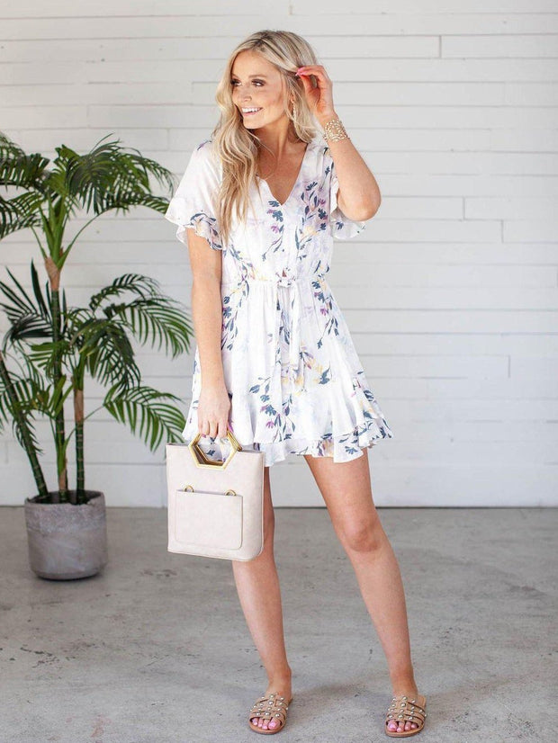 Gentle Fawn V-Neck Ruffle Mini Dress