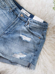 KanCan Distressed Roll Cuff Shorts