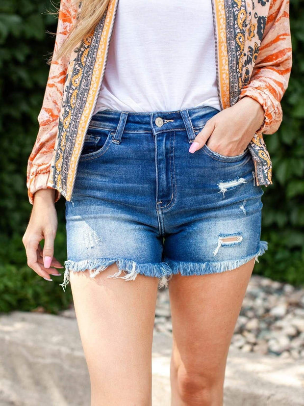 Flying Monkey High Rise Distressed Patch Shorts