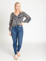printed notch neck blouse