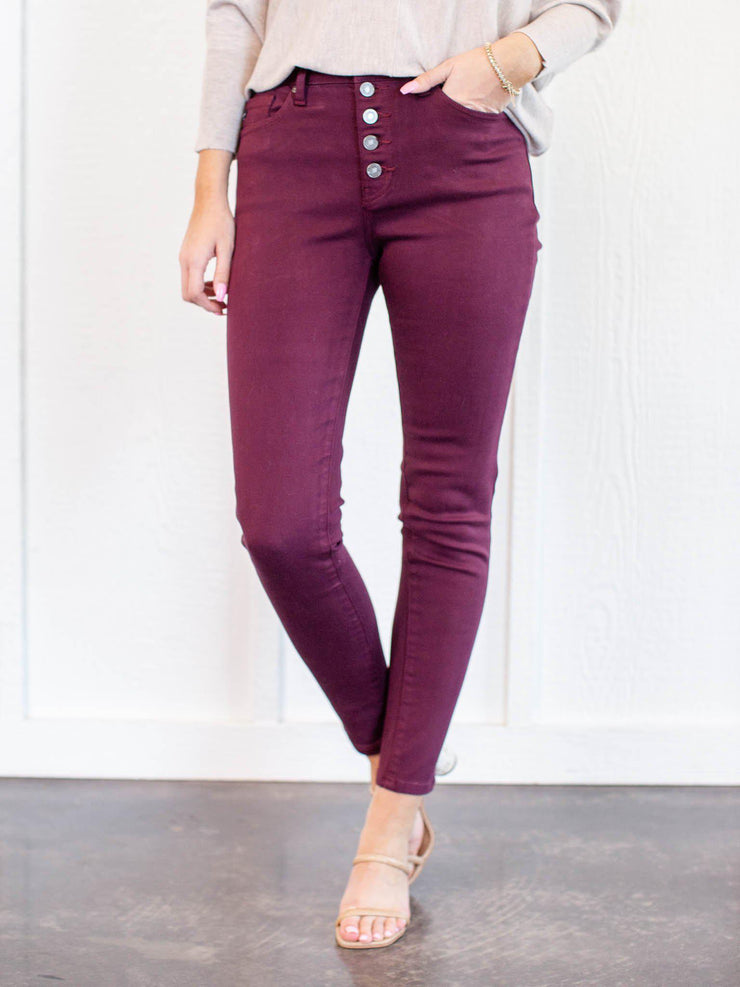 burgundy button front pants