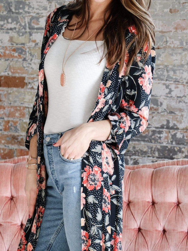 Saltwater Luxe Open Front Floral Cardigan