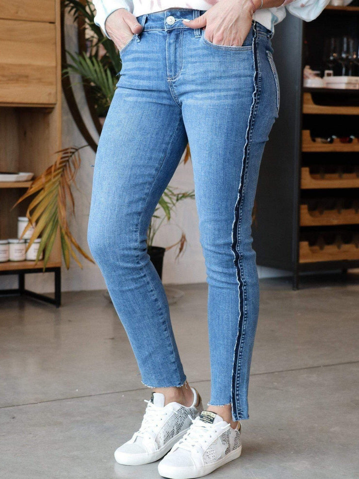 PAIGE Raw Side Stripe Denim