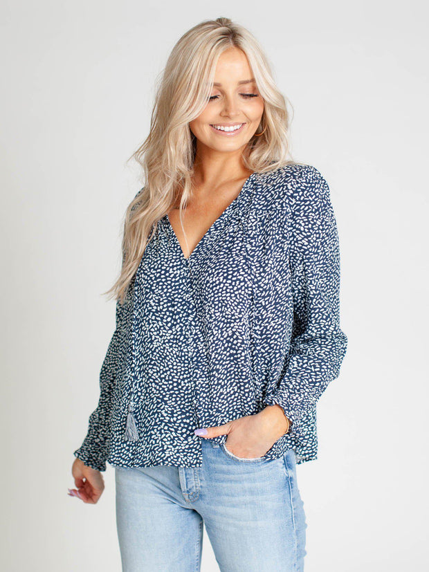 v-neck spotted blouse