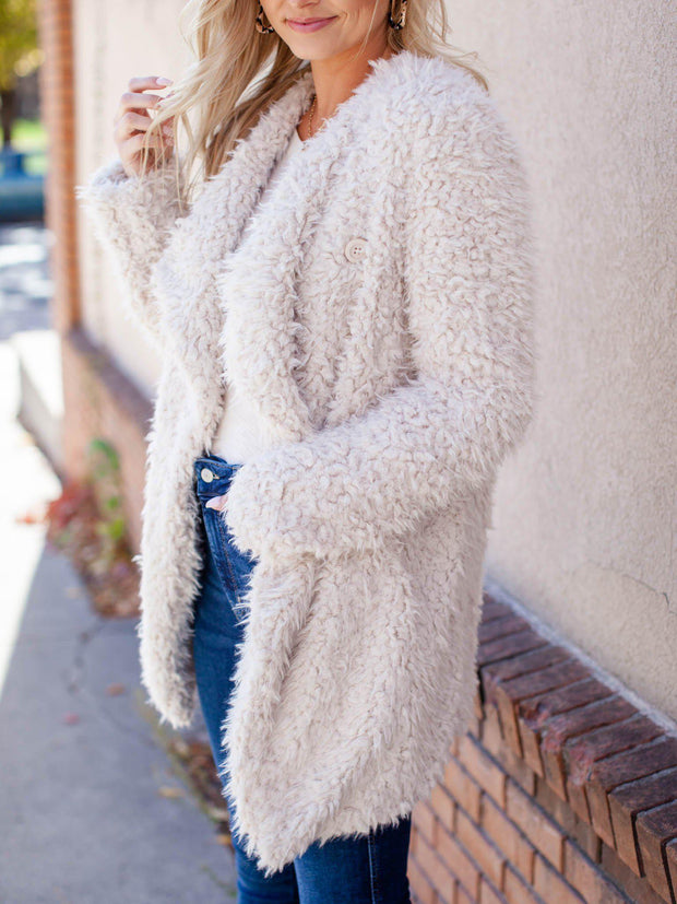 bb Dakota neutral faux fur jacket
