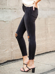 Good American Black Knee Distress Ankle Jeans