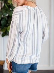 Dylan Soft Stripe Oversize Sleeve Top