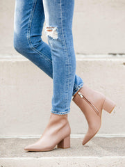 Marc Fisher Pointy Toe Taupe Block Heel Boot