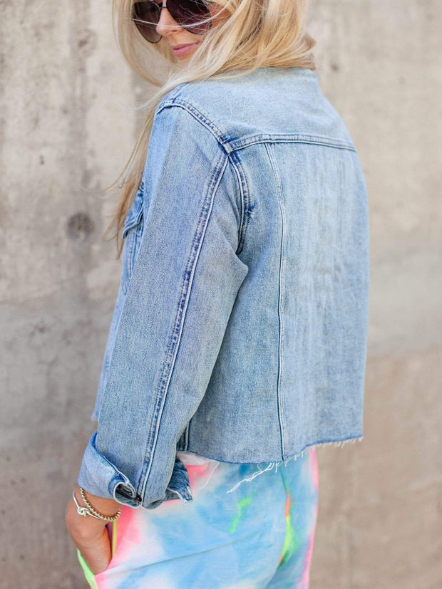 Pistola Cropped Raw Hem Denim Jacket