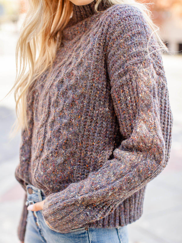 Mock Neck Drop Shoulder Cable Knit Sweater