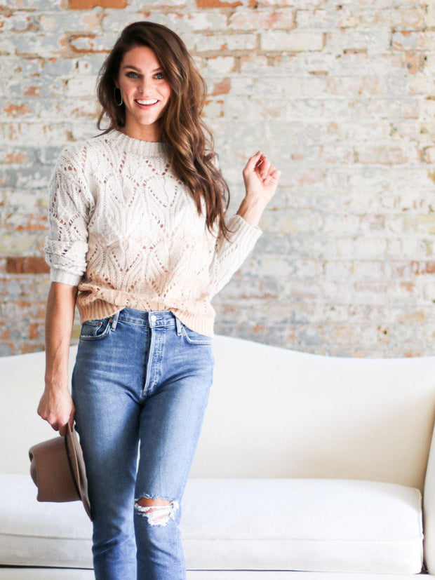 heart loom ombre sweater