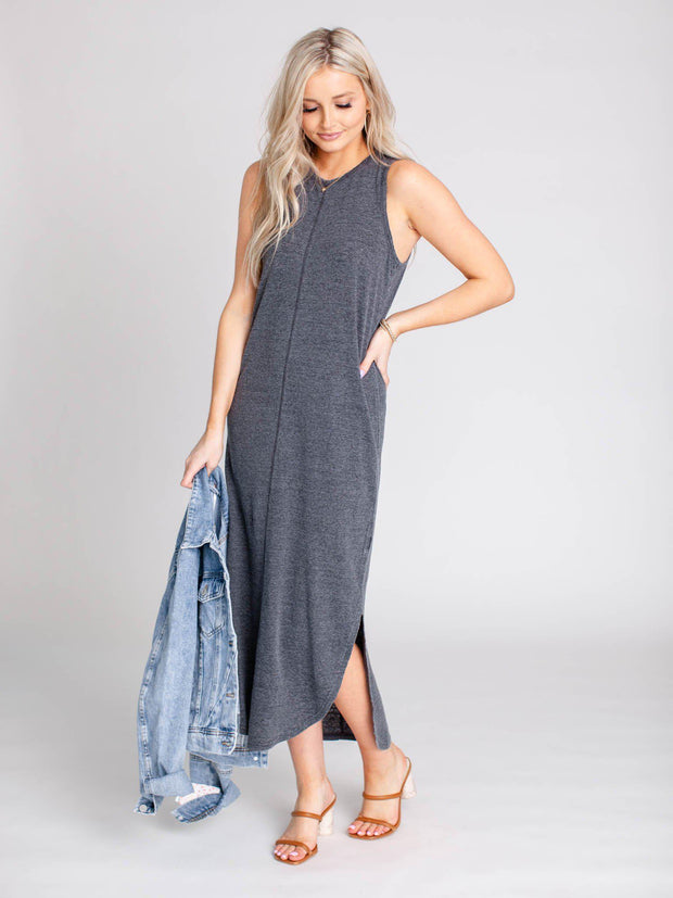 solid charcoal maxi dress