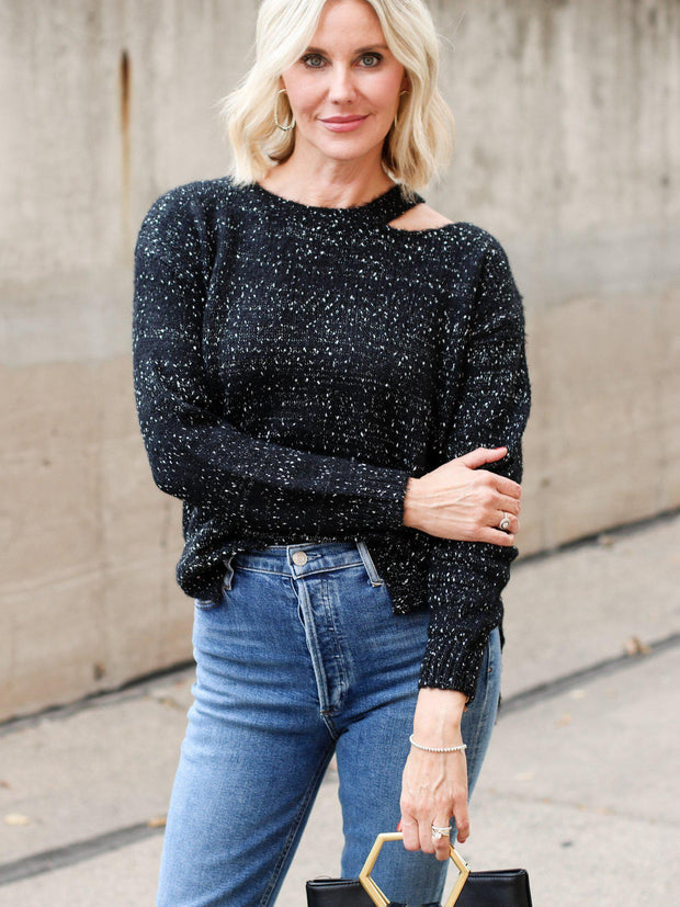 speckle cut out sweater